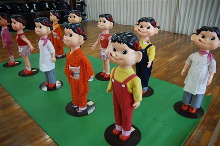 The stolen Peko-chan mascots, from the Sankei News site