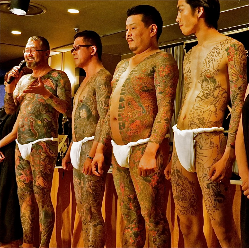Men tattooed by Horiyoshi III, live show at the FCCJ, in May 2012