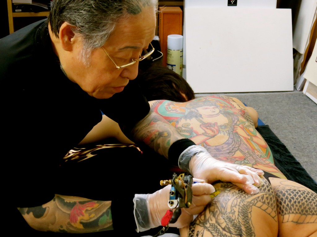 Horiyoshi the Third, the world's most famous tattoo artist, in his studio in Yokohama