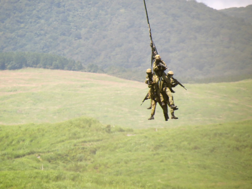 Lifting ground soldiers on helicopter, Japan Self Defense annual drill in Shizuoka, August 2012