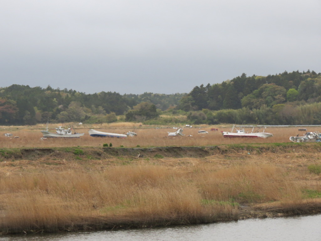 Boat cemetery in Namie town's sea coast, 2013