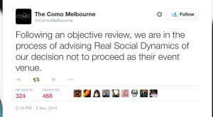 The Como Melbourne was the first hotel to cancel a Julien Blanc/RSD seminar after Jennifer Li and friends started their #takedownjulienblanc campaign.