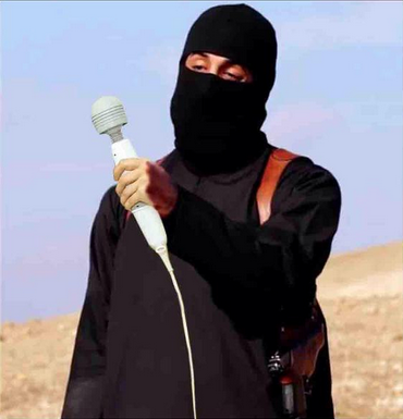 ISIS spokesman holding his favourite vibrator. A wanker ready to wank off.