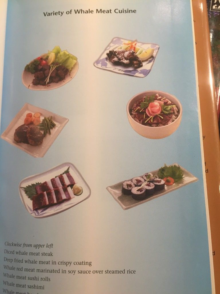 "Komatsu's ""The History and Science of Whales"" shows you the typical Japanese whale dishes."